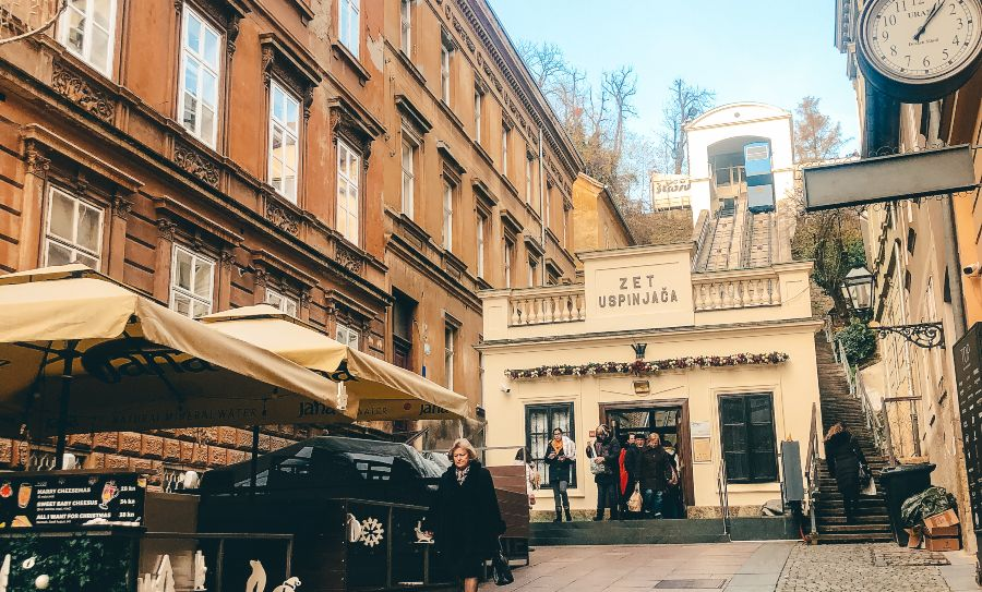 The shortest Funicular in the world in Zagreb
