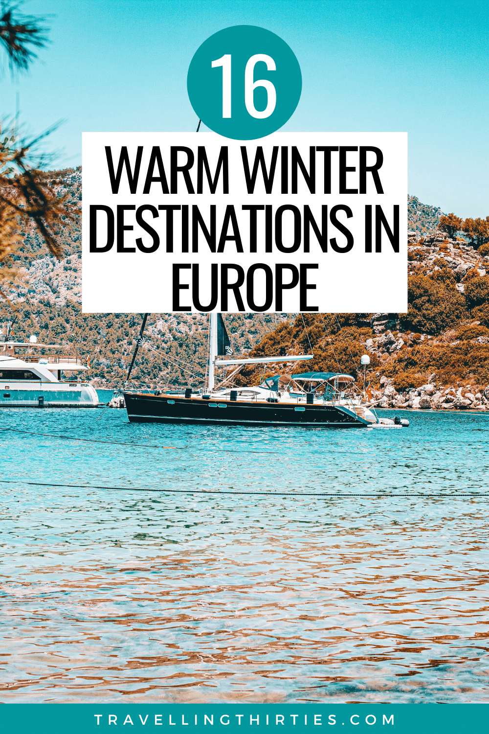 Pinterest graphic for the winter sun in Europe