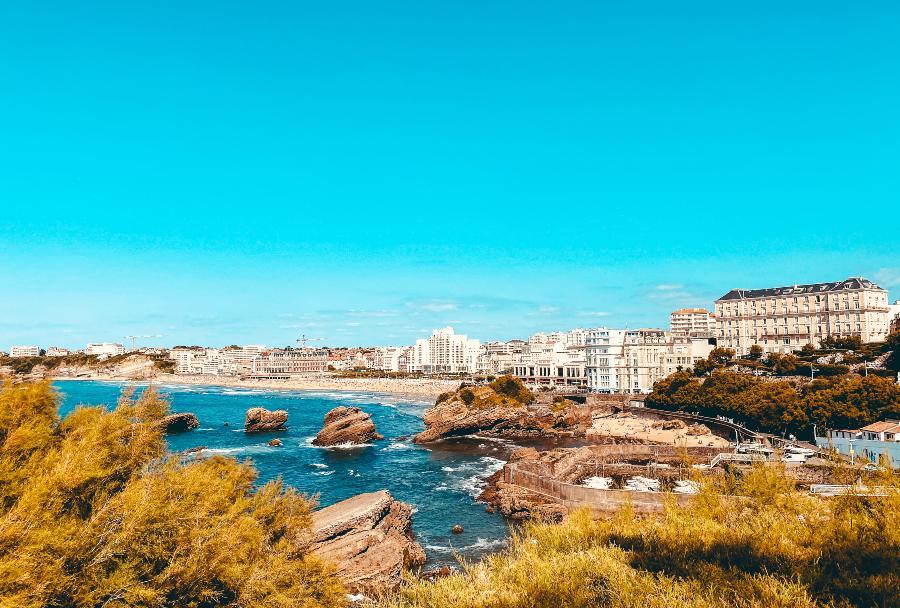 Biarritz town sitting on the beach