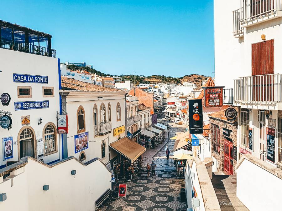 A view down the street in the old town of Albufeira