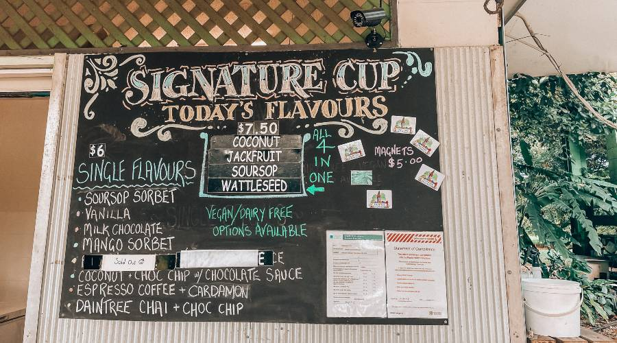 A black board listing flavours of icecream