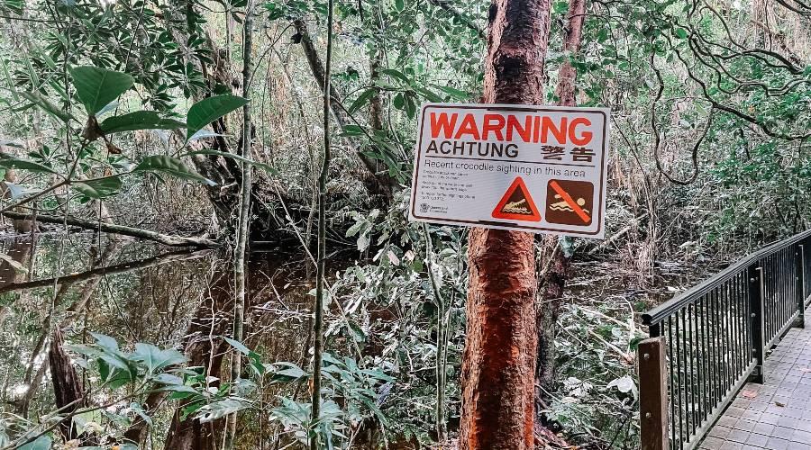 A crocodile warning sign at the beginning of the Kulki Boardwalk
