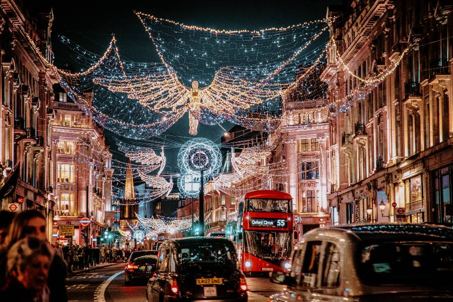 Regent Street in London decorated with Christmas lights