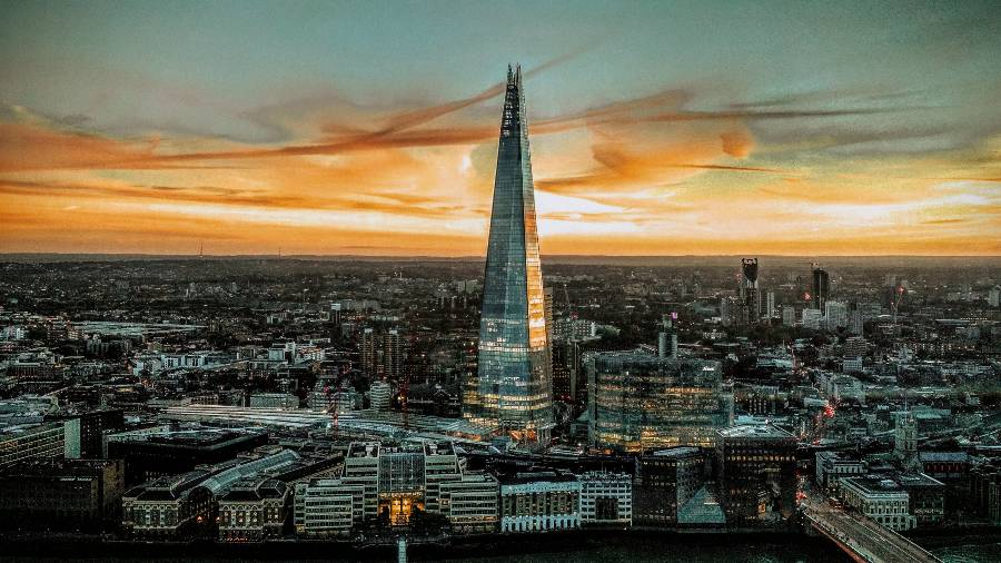The shard in London at sunset